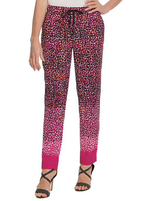 Womens Printed Tie Pull On Pants