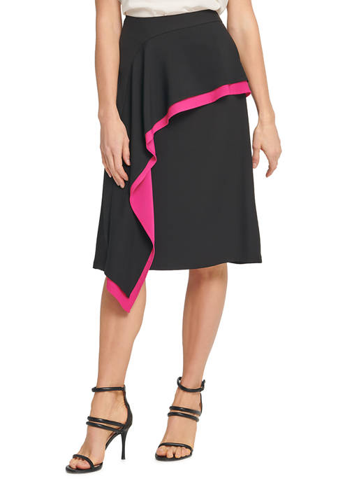 DKNY Womens Asymmetrical Ruffle Color Block Midi Skirt