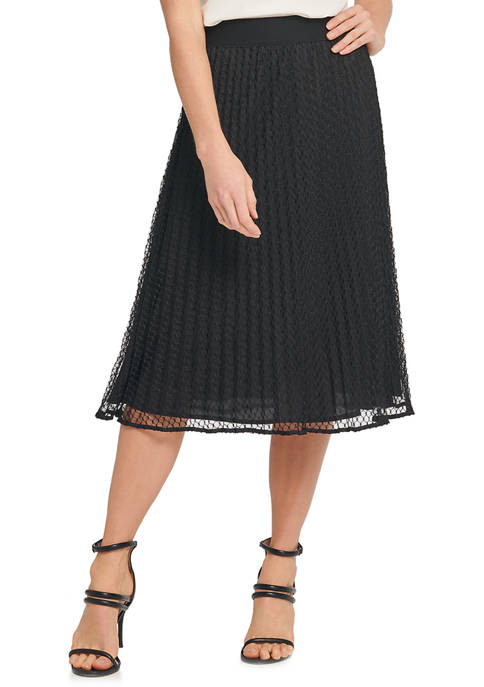 DKNY Womens Pleated Skirt with Mesh Overlay