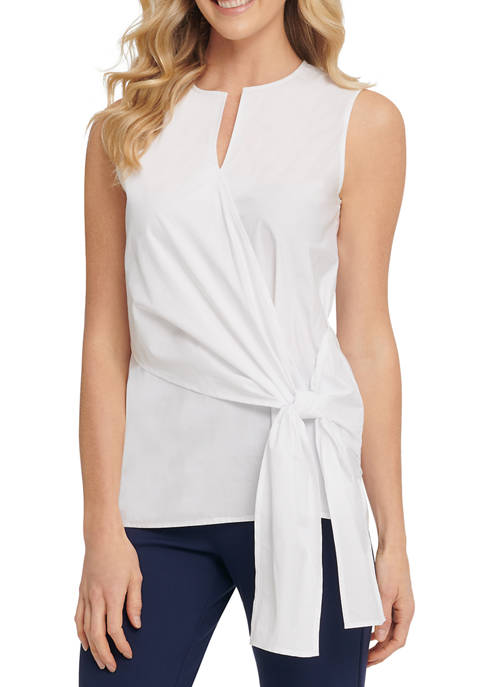 DKNY Womens Sleeveless Wrap Tie Front Top