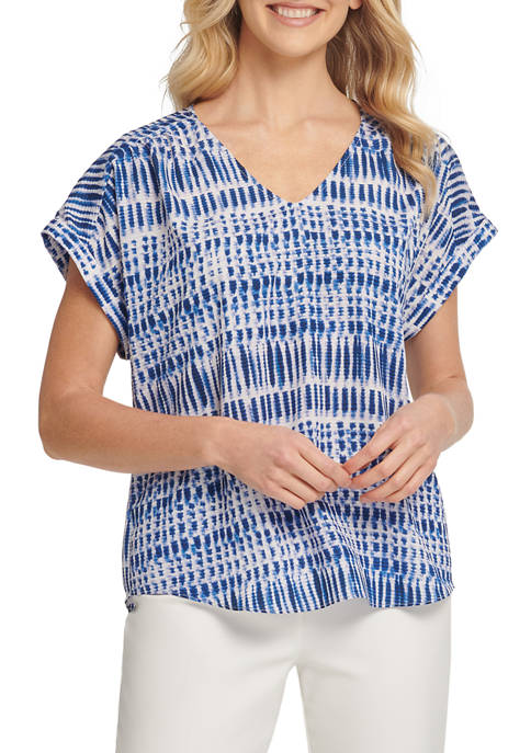 DKNY Womens Printed Short Sleeve V-Neck Top with