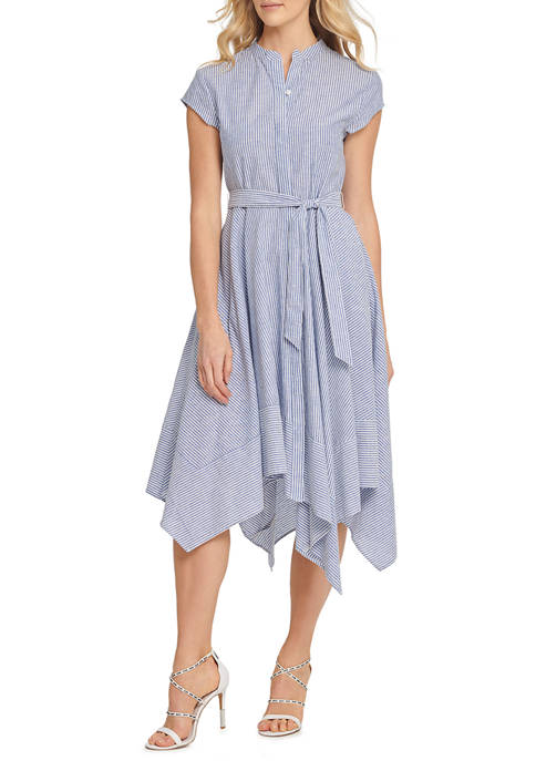 DKNY Womens Cap Sleeve Button Through Asymmetrical Dress