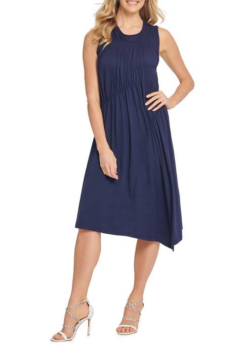 DKNY Womens Sleeveless Crew Neck Ruched Midi Dress