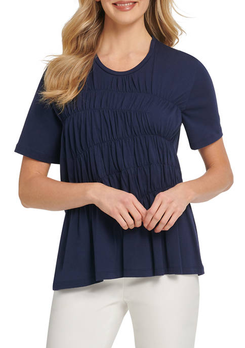 DKNY Womens Short Sleeve Front Ruched Top