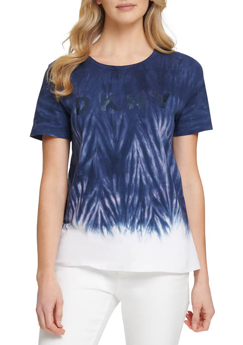 DKNY Womens Short Sleeve Sequin Logo Tie Dye