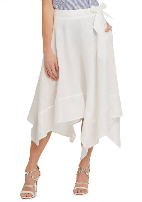 DKNY Womens Midi Asymmetric Skirt with Belt