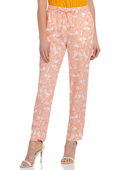 DKNY Printed Tie Waist Pull On Pants