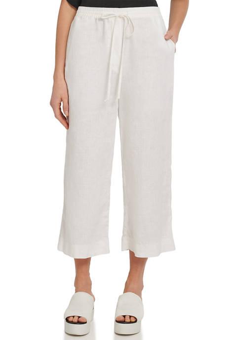 DKNY Cropped Wide Leg Linen Pants