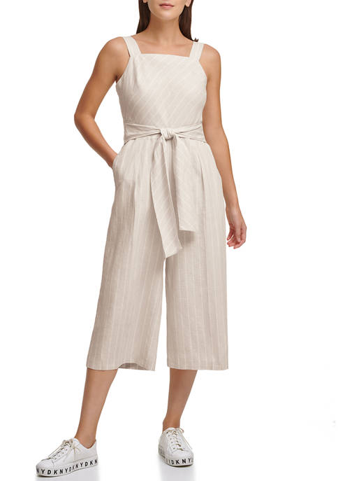 DKNY Striped Belted Linen Jumpsuit