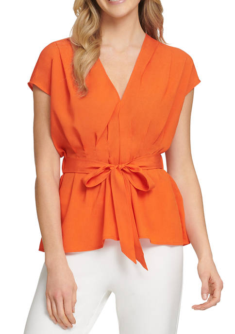 DKNY Sunset Tie Front Blouse