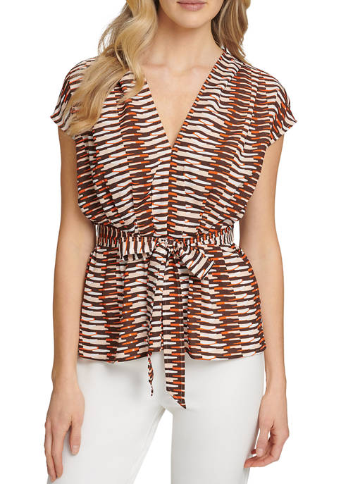 DKNY Floral Printed Tie Front Blouse