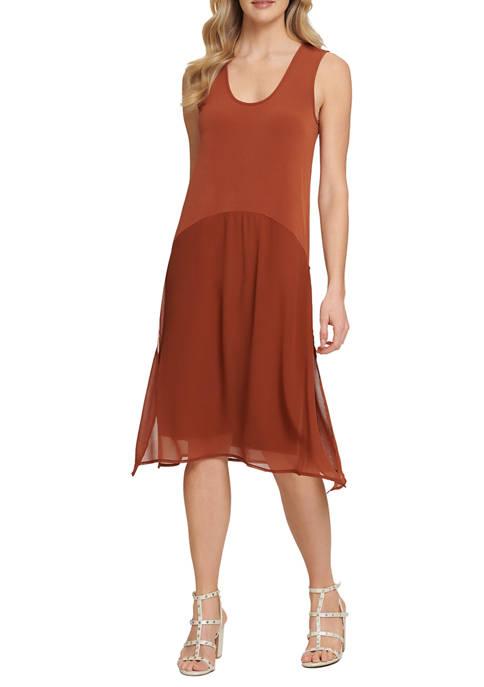 DKNY Knit Dress with Chiffon Overlay