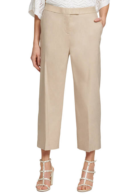 DKNY Front Tab Wide Leg Cropped Pants