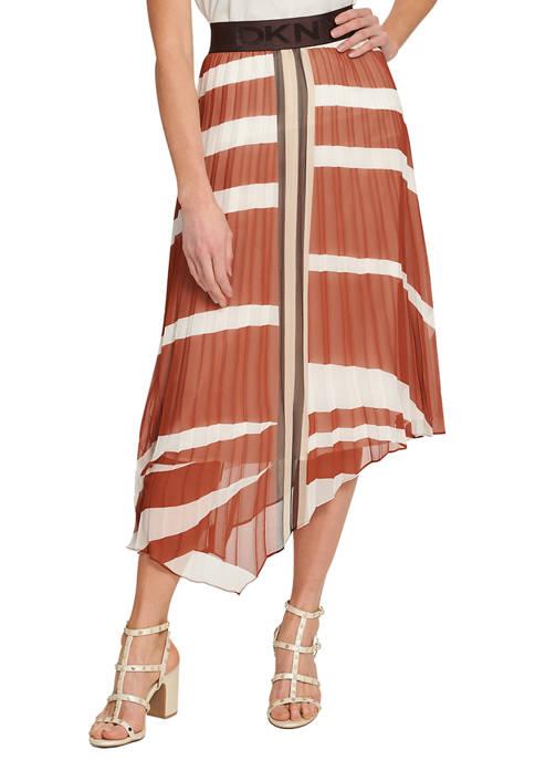 DKNY Printed Asymmetrical Hem Pleated Skirt