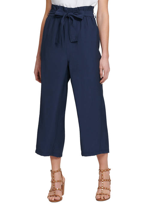 DKNY Paper Bag Wide Leg Pants with Tie