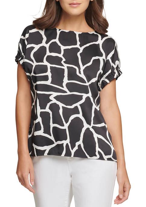 DKNY Womens Printed Short Elastic Sleeve Top