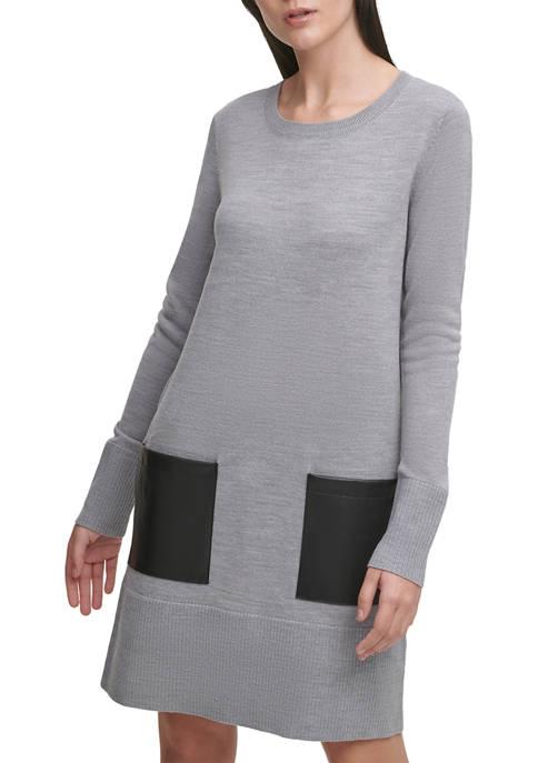 DKNY Patch Pocket Shift Dress