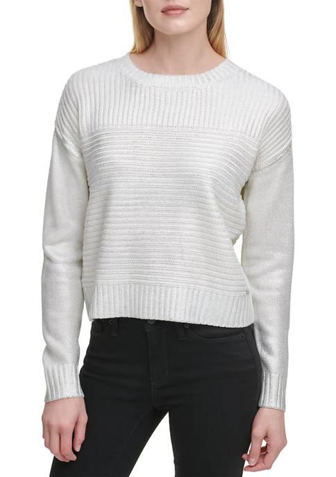 Foil Pleated Crew Neck Sweater