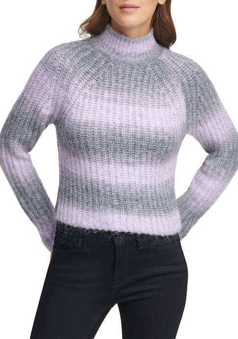 DKNY Space Dye Stripe Mock Neck Sweater
