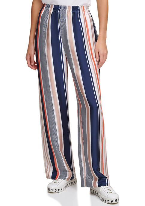 DKNY Printed Pull On Wide Leg Pants
