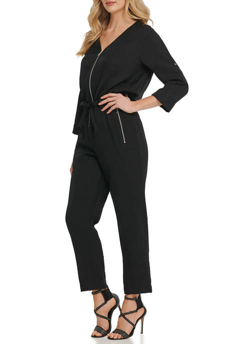 DKNY Womens Foundation Long Sleeve Jumpsuit with Front