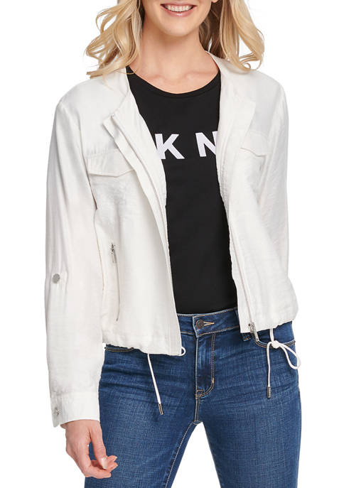 DKNY Womens Foundation Roll Tab Zip Front Jacket