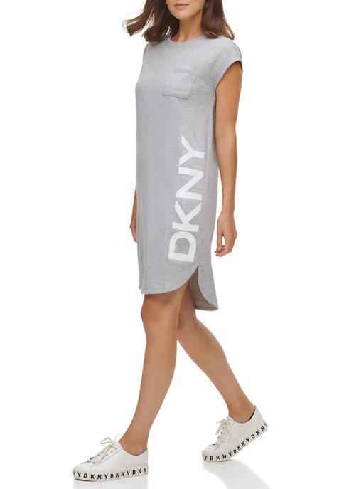 DKNY Short Sleeve Logo Pocket Dress
