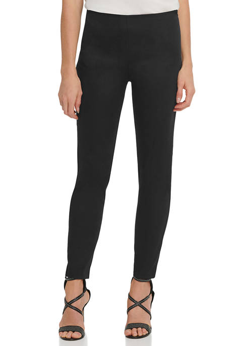 DKNY Womens Slim Leg Pull-On Ponte Pants