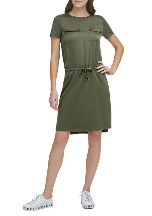 DKNY Mixed Media T-Shirt Dress with Chest Pockets