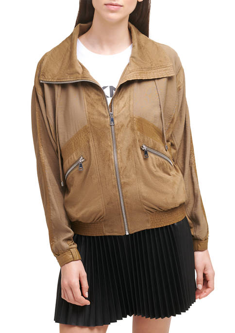 DKNY Zip Front Mixed Media Cropped Jacket