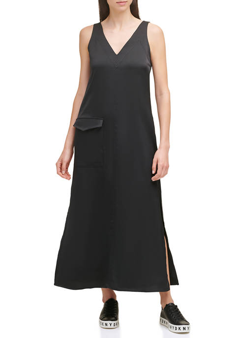 V-Neck Maxi Dress with Cargo Pocket