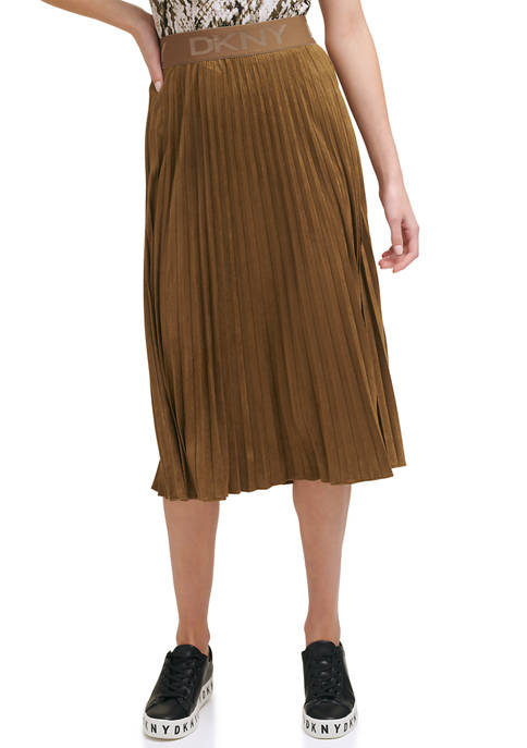 DKNY Faux Suede Pleated Midi Skirt with Logo