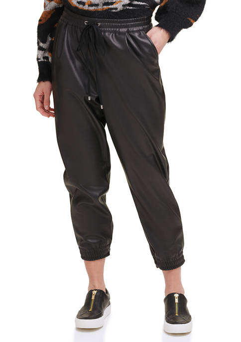 DKNY Faux Leather Pull On Joggers
