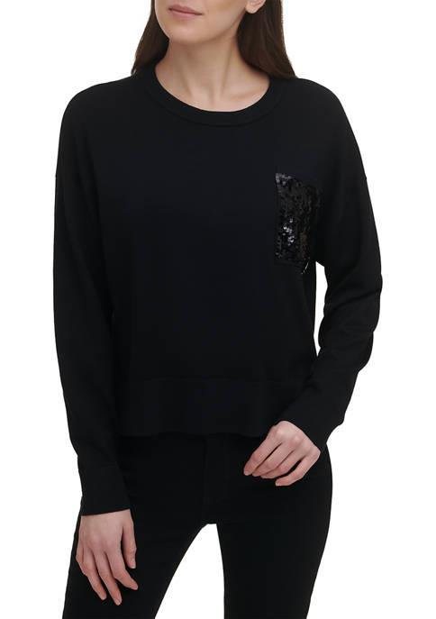 DKNY Long Sleeve Sequin Pocket Sweater