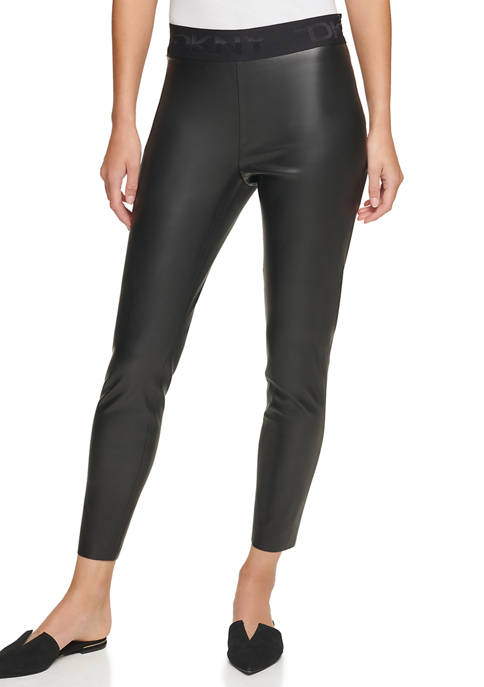 DKNY Faux Leather Pull On Leggings