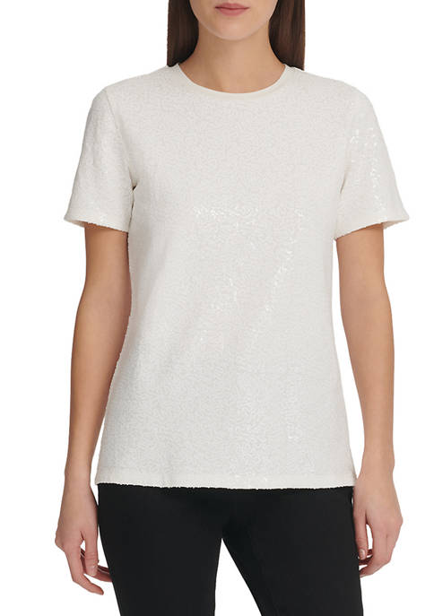 DKNY Womens Foundation Short Sleeve Crew Neck Sequin