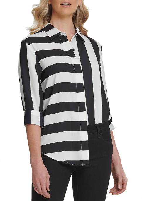 Womens Foundation Long Sleeve Button Through Top with Step Hem