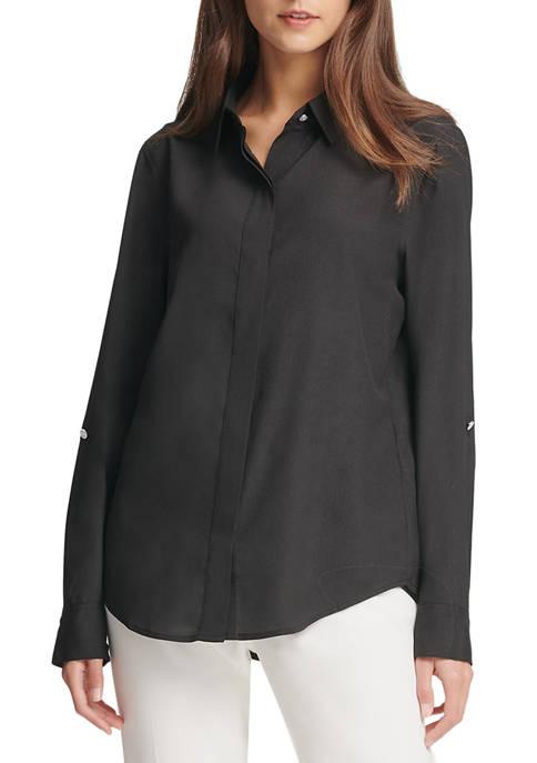 DKNY Foundation Roll Tab Button Through Shirt with