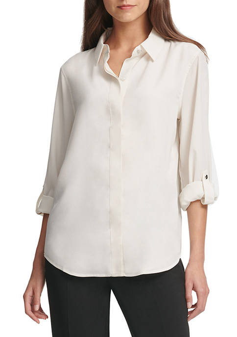 DKNY Womens Foundation Roll Tab Button Through Shirt