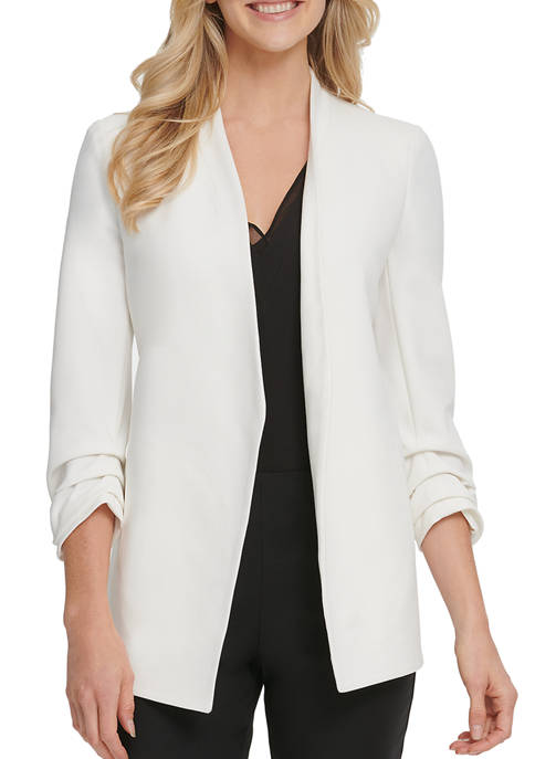 DKNY Womens Foundation Long Sleeve Open Front Jacket