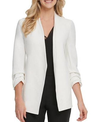 Ladies Turn up Cuff Open Front Ruched Pocket Women/'s Jacket Blazer