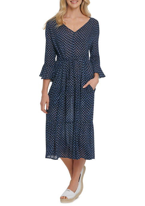 Womens Printed 3/4 Sleeve Tie Front Midi Dress