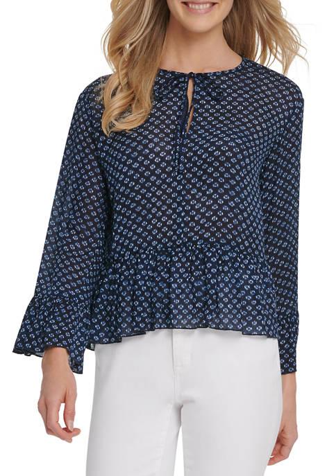 Womens Printed Long Sleeve Tie Front Peplum Top