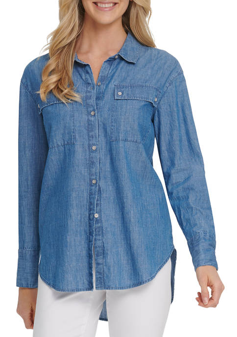 DKNY JEANS Womens Long Sleeve Button Up Top