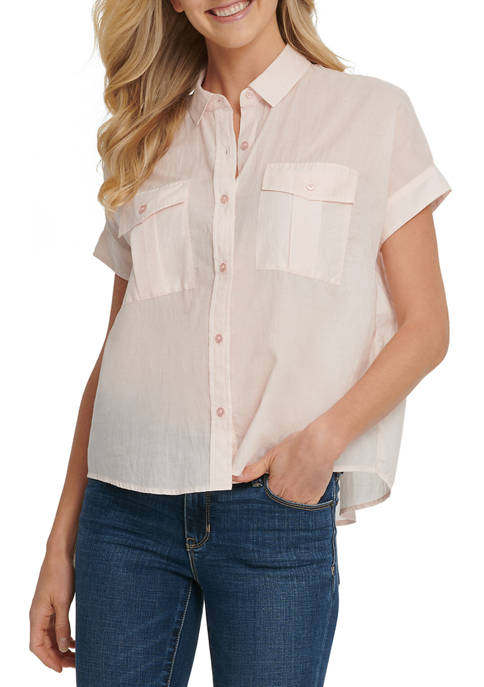Womens Short Sleeve Collared Button Blouse with Pockets