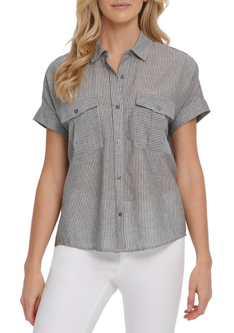 DKNY JEANS Womens Short Sleeve Button Thru Blouse