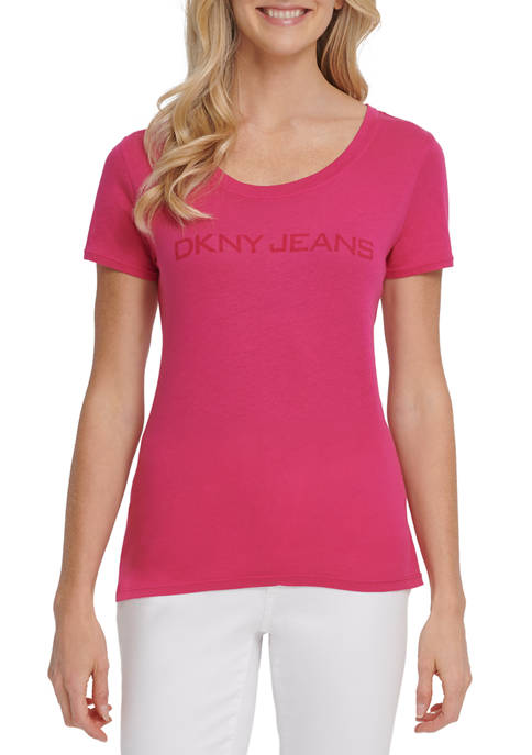 DKNY JEANS Womens Short Sleeve Scoop neck Washed