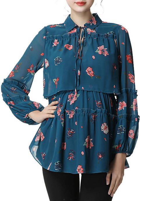 Kimi & Kai Maternity/Nursing Coco Floral Print Blouse
