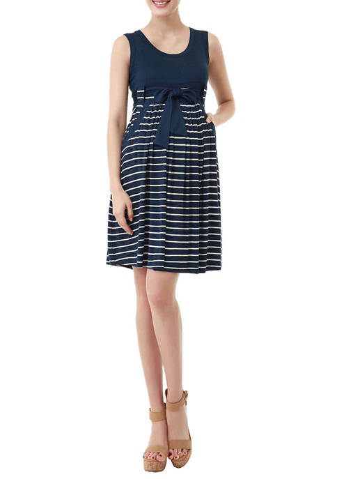 Maternity Scoop Neck Striped Dress