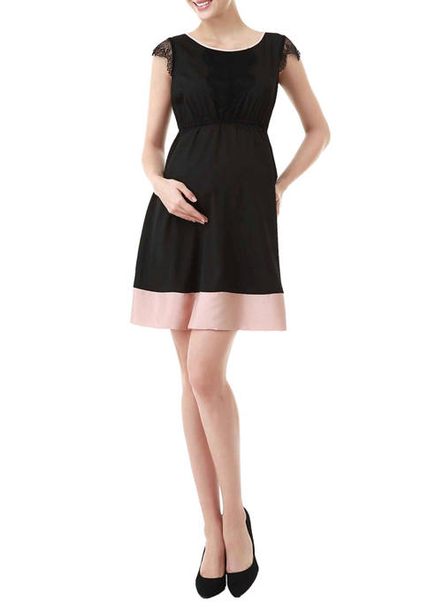 Kimi & Kai Maternity Nell Lace Trimmed Colorblock